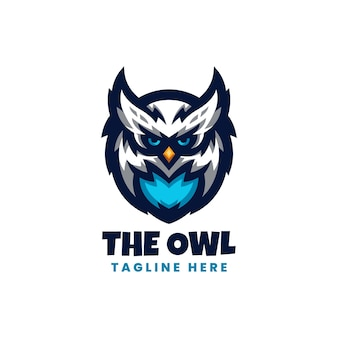 Blaue eule esport logo vorlage mit modernem stil