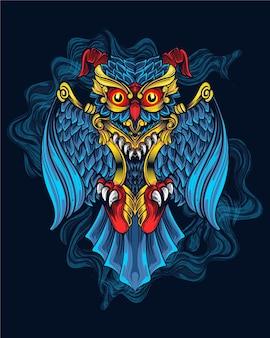 Blaue eule kunstwerk mit ornament