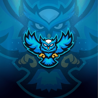 Blaue eule logo esport