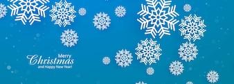 Blaue Fahne der schönen Schneeflocke der frohen Weihnachten