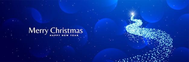 Blaue fahne des glänzenden kreativen weihnachtsbaumdesigns