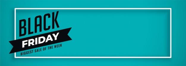 Blaue fahne für schwarzen freitag-verkauf mit textraum