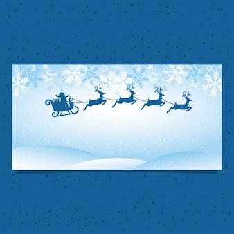 Blaue fahne mit weihnachtsmann und rentiere