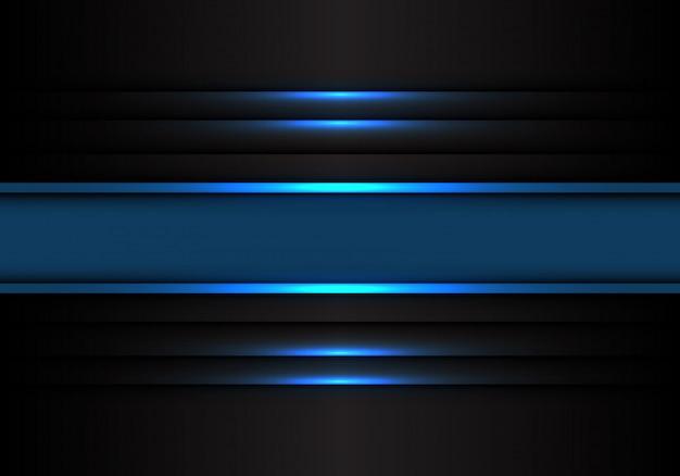 Blaue fahnenlinie licht auf schwarzem hintergrund.