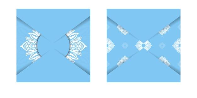 Blaue farbbroschürenschablone mit abstrakter weißer verzierung für ihr design.