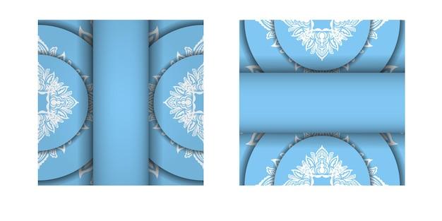 Blaue farbbroschürenschablone mit abstrakter weißer verzierung für ihre marke.