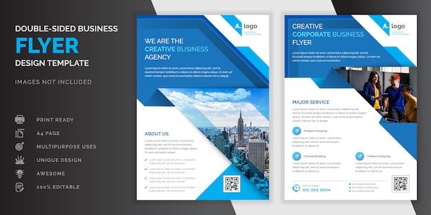 Blaue farbe abstrakte kreative moderne professionelle doppelseitige business flyer