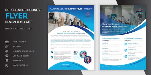 Blaue farbe abstrakte kreative moderne professionelle doppelseitige reinigung service flyer