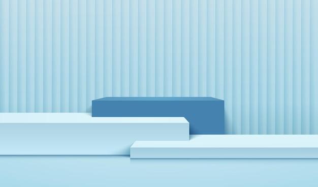 Blaue farbe der abstrakten würfelanzeige für produktpräsentation