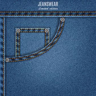 Blaue farbe der denim-textur mit tasche und stich. jeans hintergrund für ihr design