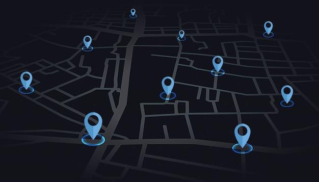 Blaue farbe der gps-stifte, die auf kartenstraße im dunklen ton darstellt.