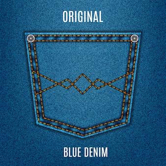 Blaue farbe der jeansbeschaffenheit mit tasche, denim