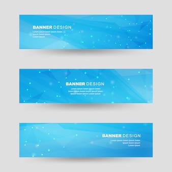 Blaue farbe polygonale formen banner set
