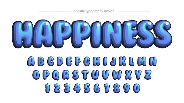Blaue farben abgerundete blase comic typografie