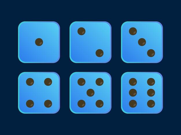 Blaue farbillustration würfel für spiel
