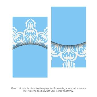 Blaue farbvisitenkarte mit griechischem weißem muster für ihre persönlichkeit.