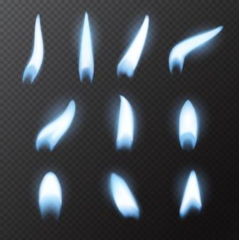 Blaue feuerflamme des erdgases, realistischer vektor