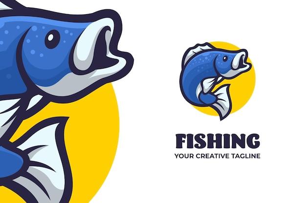 Blaue fisch-maskottchen-charakter-logo-vorlage