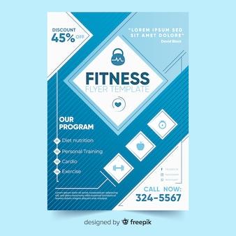 Blaue fitness flyer vorlage