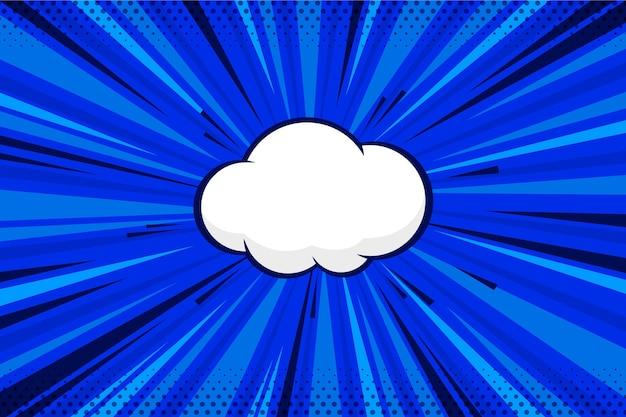 Blaue flache comic-tapete mit chat-blase