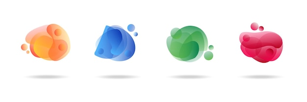 Blaue flache form und grüner flüssigkeitsklecks, blauer flüssigkeitsfleck und violette geometrische form. satz isolierter abstrakter aquaflecken mit farbverlauf oder dynamischer farbe. hintergrund für karten- oder vorlagendesign für flyer