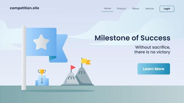 Blaue flagge mit sternsymbol als meilenstein des erfolgs mit slogan ohne opfer gibt es keinen sieg für die website-vorlage, die homepage-vektorillustration landet