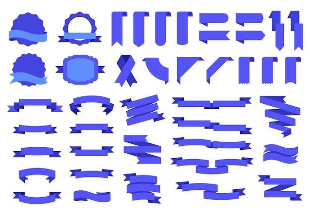 Blaue flaggen-etiketten und abzeichen, tags-bänder-banner. vintage dekorative designelemente flaches band, etikett, ecke, tag, abzeichenvektorsatz