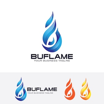 Blaue flamme vektor logo vorlage