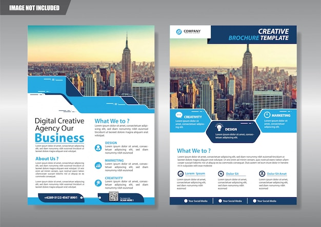Blaue flyer business-vorlage für broschüre firma