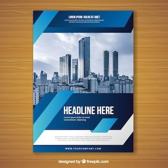 Blaue flyer design-vorlage