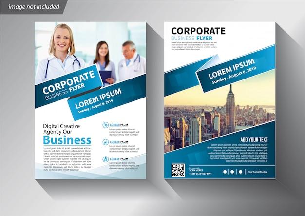 Blaue flyer vorlage für unternehmensbroschüre