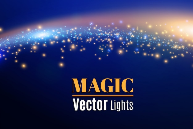 Blaue funken und sterne glitzern als besonderer lichteffekt. funkelnde magische staubpartikel.