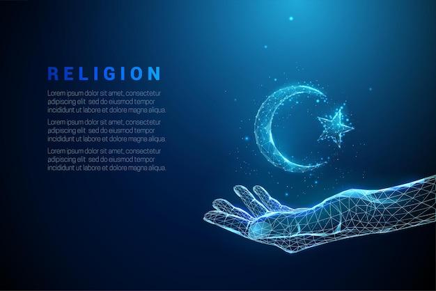 Blaue gebende hand hält halbmond und stern. islamisches symbol. low poly style design.
