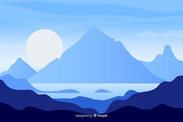 Blaue gebirgslandschaft