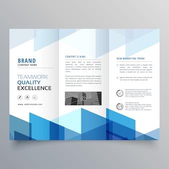 Blaue geometrische dreifach-business-broschüre design-vorlage