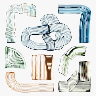 Blaue geometrische formen textur vektor diy kamm malerei abstrakte kunst set