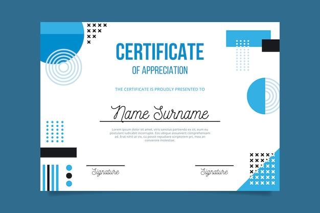 Blaue geometrische formen und memphis-zertifikatschablone