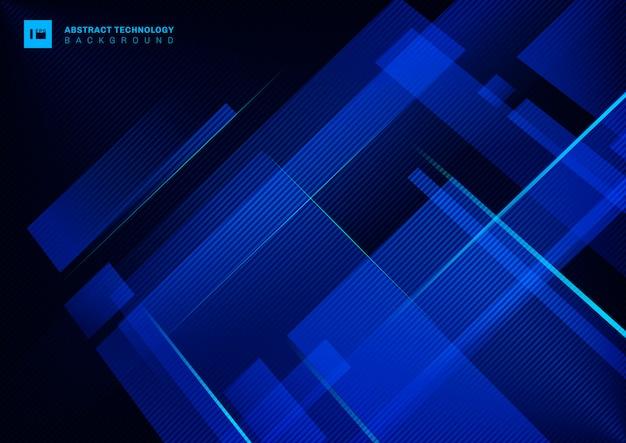 Blaue geometrische überschneidung des abstrakten technologiekonzeptes mit heller laserlinie auf dunklem hintergrund.