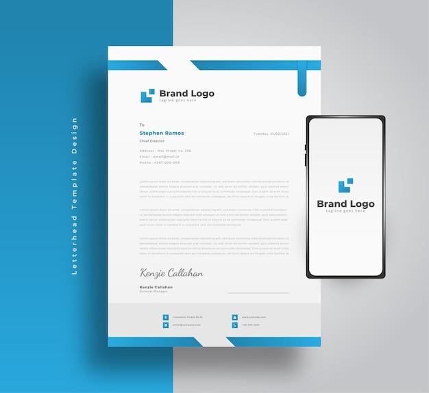 Blaue geschäftsbriefkopfschablone mit modernem stil und smartphone