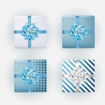 Blaue geschenkbox-sammlung mit schleife und band.