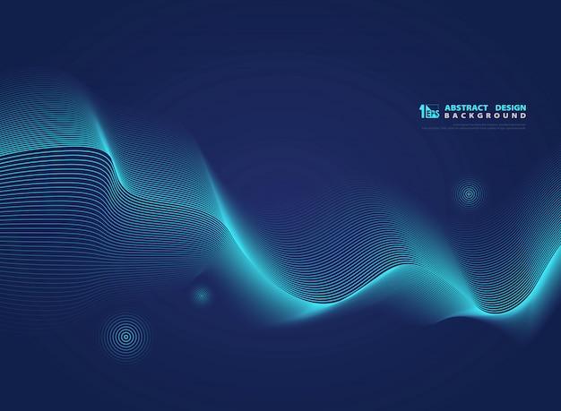 Blaue gewellte linie moderne wissenschaft der abstrakten steigung.