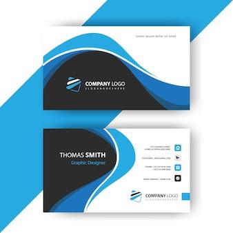 Blaue gewellte visitenkarte
