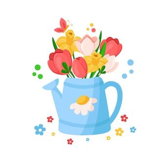 Blaue gießkanne mit blättern und frühlingsblumen, blumenstrauß - tulpe, narzisse, narzisse