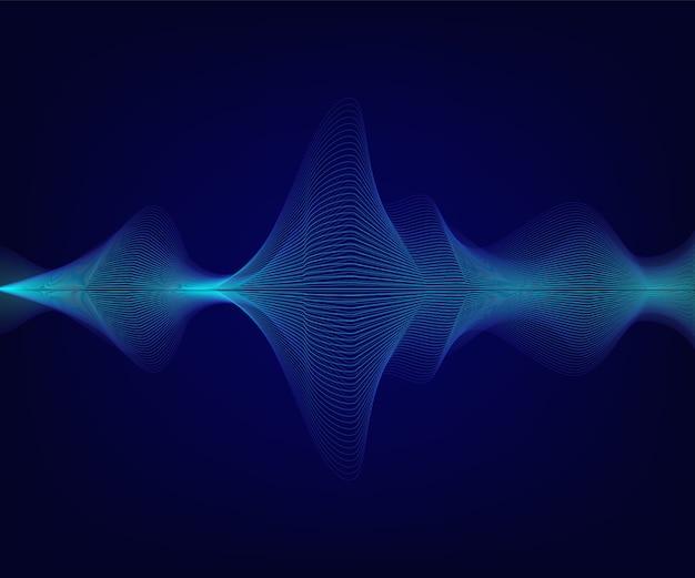 Blaue glänzende schallwelle auf dunklem hintergrund
