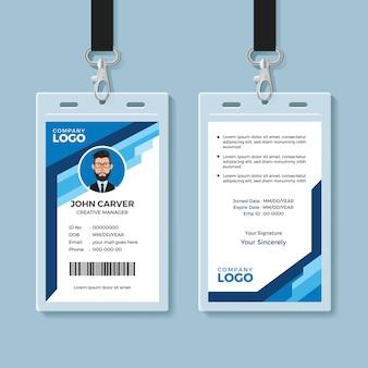Blaue grafik mitarbeiterausweis-vorlage
