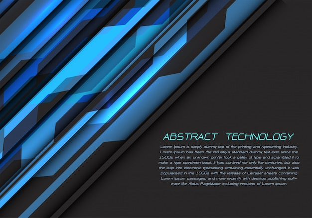 ฺฺ blaue graue stromkreisenergie mit futuristischem hintergrund der dunklen leerstelle.
