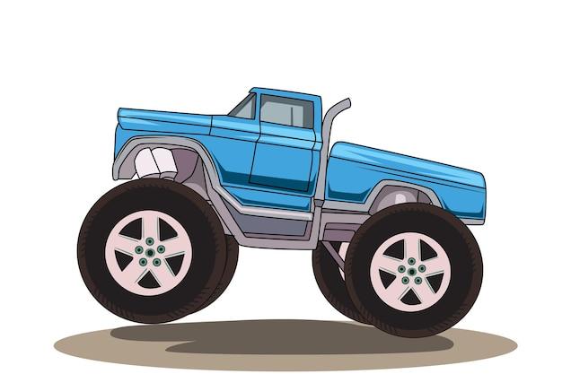 Blaue große lastwagenmonsterhand, die illustration zeichnet Premium Vektoren