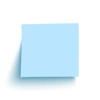 Blaue haftnotiz auf weißem hintergrund.