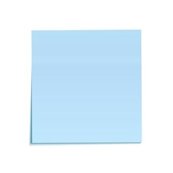 Blaue haftnotiz lokalisiert auf weißem hintergrund.