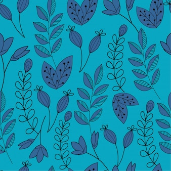 Blaue hand gezeichneter betriebsmusterhintergrund
